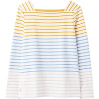 Joules Matilde Square Neck Jersey Top Cream Gold Stripe 12