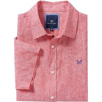 Crew Clothing Mens Short Sleeve Linen Shirt Crimson Small
