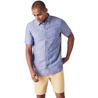 Crew Clothing Short Sleeve Linen Shirt Deep Cobalt XL
