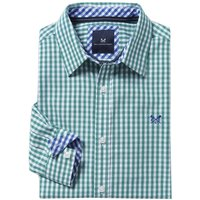 Crew Clothing Classic Gingham Shirt Eucalyptus Large