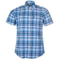 Barbour Mens Madras 5 S/S Tailored Shirt Mid Blue Small