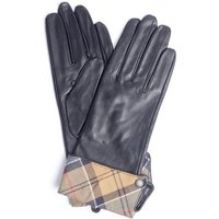 Barbour Womens Lady Jane Leather Gloves Black/Dress Tartan Large