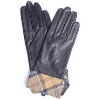 Barbour Womens Lady Jane Leather Gloves Black/Dress Tartan Large