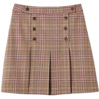 Joules Womens Haddie Check Button Front Tweed Skirt Pink Tweed 16