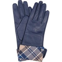 Barbour Womens Lady Jane Leather Gloves Dark Navy/Tempest Trench Large