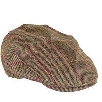 Heather Mens Kinloch Waterproof Tweed Cap Olive/Red Check Small