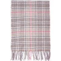 Barbour Womens  Barmack Houndstooth Tartan Scarf Taupe/Pink
