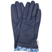 Barbour X Laura Ashley Womens Poplars Leather Gloves Navy/Shepherds Purse Large