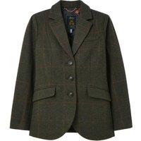 Joules Womens Westleigh Tweed Blazer Dark Green Tweed 12