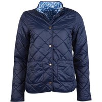 Barbour X Laura Ashley Womens Elm Quilted Jacket Navy/Shepherds Purse 14
