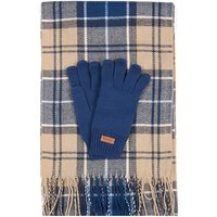 Barbour Womens Tartan Scarf and Glove Set Tempest Blue/Trench One
