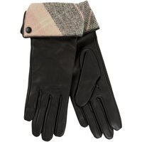 Barbour Womens Lady Jane Leather Gloves Pink/Grey Tartan Large