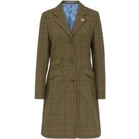 Alan Paine Womens Combrook Tweed Mid Length Coat Gorse 8
