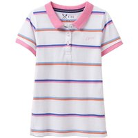 Crew Clothing Girls Pique Stripe Polo Shirt Bright White 4-5