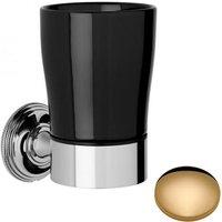 Samuel Heath Style Moderne Tumbler Holder Black Ceramic N6635B Non Lacquered Brass