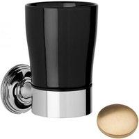 Samuel Heath Style Moderne Tumbler Holder Black Ceramic N6635B Brushed Gold Unlacquered