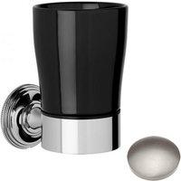 Samuel Heath Style Moderne Tumbler Holder Black Ceramic N6635B Stainless Steel Finish