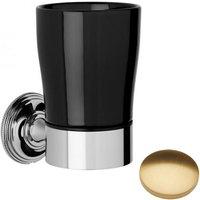 Samuel Heath Style Moderne Tumbler Holder Black Ceramic N6635B Brushed Gold Gloss
