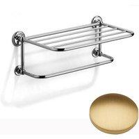 Samuel Heath Novis Towel Shelf With Towel Hanging Rail N1737 Brushed Gold Matt Small