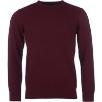 Barbour Mens Essential Lambswool Crew Neck Sweater Ruby Small