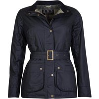 Barbour Womens Montgomery Wax Jacket Black/Green Pink Check 16