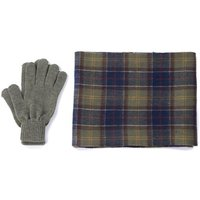 Barbour Mens Tartan Scarf and Glove Gift Set Classic Tartan/Olive One