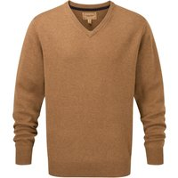 Schoffel Mens Lambswool V Neck Jumper Toffee Small