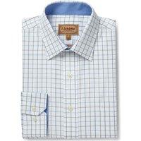 Schoffel Mens Burnham Tattersall Shirt Blue/Olive Check 19 Inch