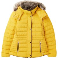 Joules Womens Gosway Fur Trim Padded Coat Antique Gold 14
