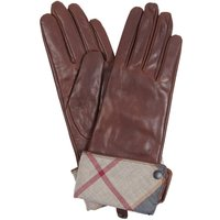 Barbour Womens Lady Jane Leather Gloves Brown/Hessian Small