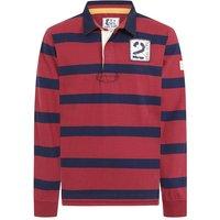 Lazy Jacks Mens LJ78 Long Sleeve Striped Rugby Shirt Red Large