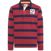 Lazy Jacks Mens LJ78 Long Sleeve Striped Rugby Shirt Red Medium