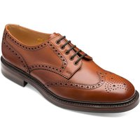 Loake Mens Chester Brogue Shoes Mahogany Burnished Calf Leather 8