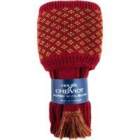 House of Cheviot Boughton Pattern Top Sock Set With Garter Brick Red/Moss Medium