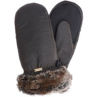 Barbour Wax With Fur Trim Mittens Olive Olive