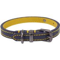 Joules Navy Leather Dog Collar  Medium