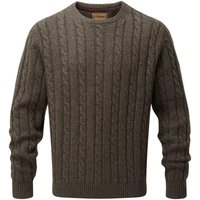 Schoffel Mens Lambswool Chunky Cable Crew Neck Jumper Mocha Large