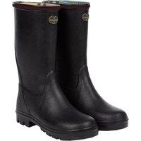Le Chameau Petite Adventure Jersey Lined Boot Black/Cherry 32