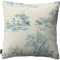 Kinga Cushion Cover Blue Characters, Ivory Background