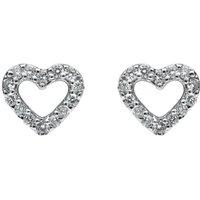 18ct White Gold 0.22ct Diamond Open Heart Stud Earrings