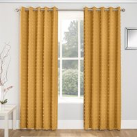 Aruba Linen Look Lined Voile Eyelet Curtains Honey