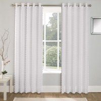 Aruba Linen Look Lined Voile Eyelet Curtains White