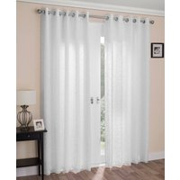 Venice Ready Made Lined Voile Curtains White
