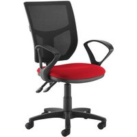 Altino 2 lever high mesh back operators chair with fixed arms - red