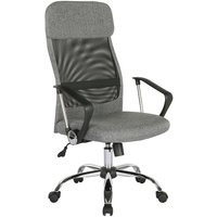 Chord high back operators chair with mesh back and headrest - grey