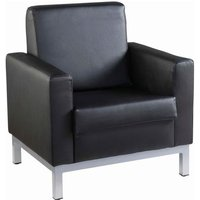 Click to view product details and reviews for Helsinki Square Back Reception Single Tub Chair 800mm Wide Black Leather Faced.