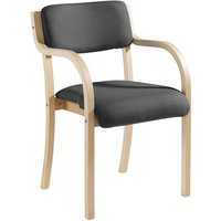 Prague wooden conference chair with double arms - charcoal