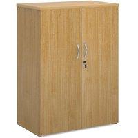 Universal double door cupboard 1090mm high with 2 shelves - oak