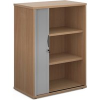 Click to view product details and reviews for Universal Single Door Tambour Cupboard 1090mm High With 2 Shelves Beech With Silver Door.