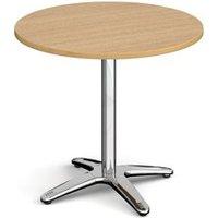 Roma circular dining table with 4 leg chrome base 800mm - oak